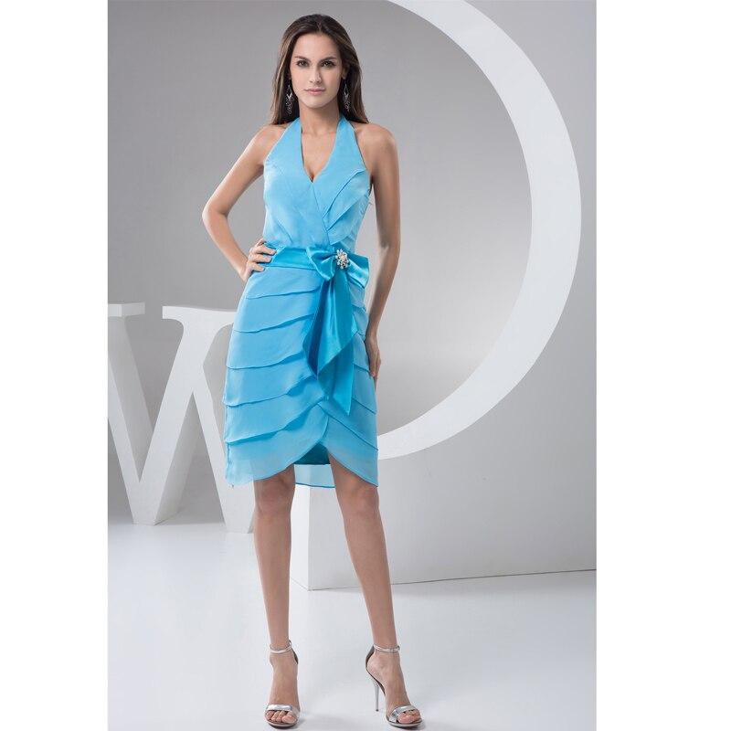 2017 Vestido de Coctel Corto Por Encargo Azul de Gasa Sash Arco Mini Vestidos de