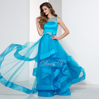 Elegant Plus Size Ice Blue Ladies Evening Dresses On Sale Affordable Formal Dress Sheer Scoop Neck