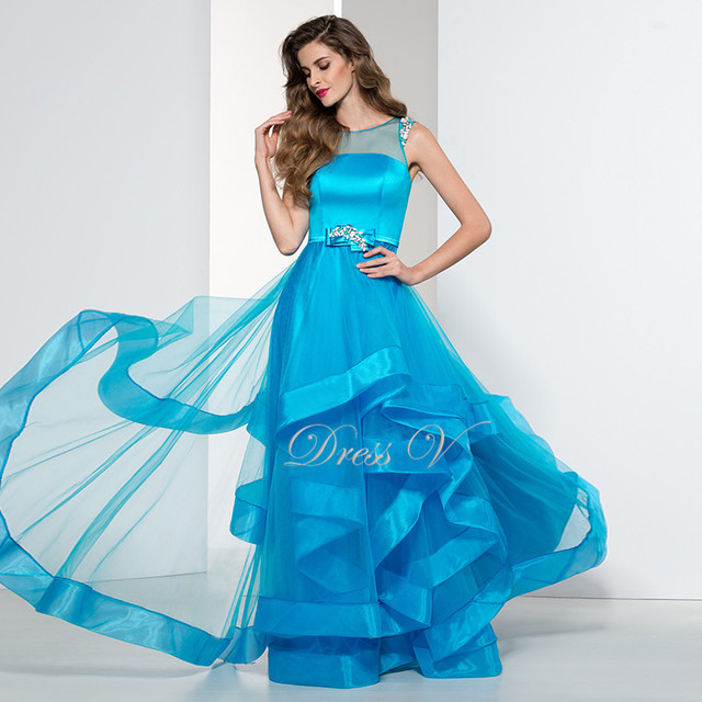 Elegant Plus Size Ice Blue Ladies Evening Dresses On Sale Affordable