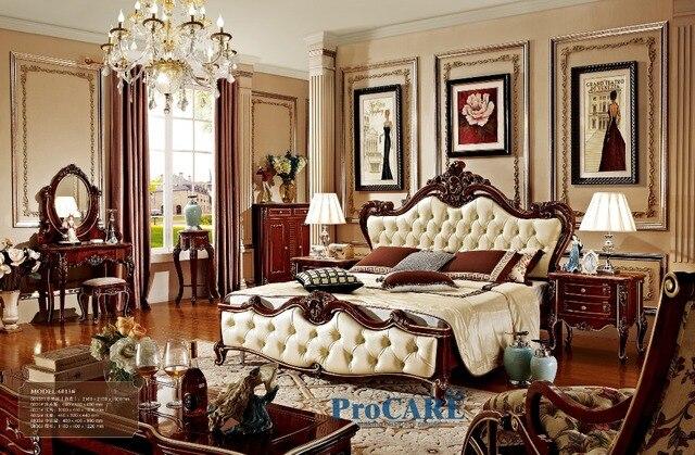 Lujo Barroco sólido palo de rosa y cama de cuero muebles de ...