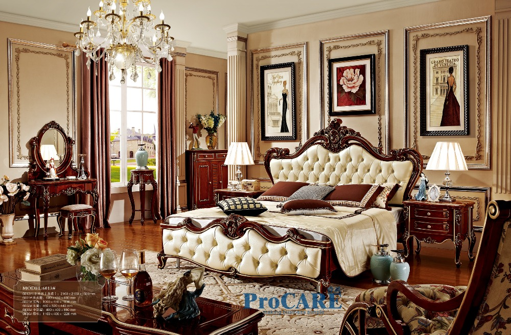 luxury solid rose wood and leather bed Baroque Bedroom furniture sets at wholesale price with flower stand,shoes cabinet-6013