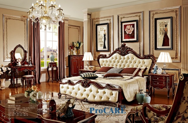 luxury solid rose wood and leather bed baroque bedroom furniture rh aliexpress com Baroque Bedroom Furniture Set Italian Baroque Bedroom Furniture