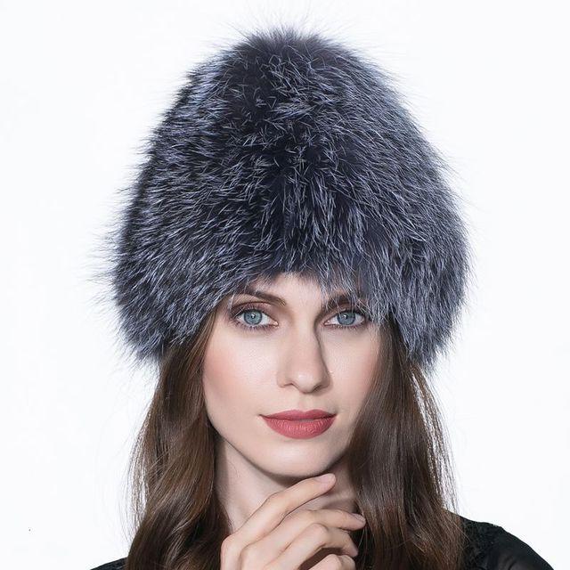LTGFUR Boa Qualidade Prata Verdadeira Pele De Raposa Chapéu de Inverno Para As Mulheres Gorros de Malha quentes 2016 Novo Estilo de Moda Real Fox Fur Cap