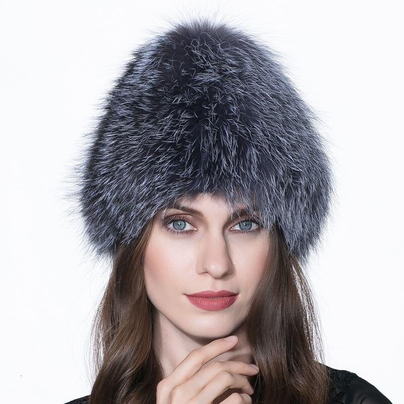 edb7d55b454 LTGFUR Good Quality Real Silver Fox Fur Hat For Women Winter Warm Knitted  Beanies 2016 New Style Fashion Real Fox Fur Cap-in Skullies   Beanies from  Women s ...