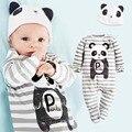 Moda panda dos desenhos animados roupas de algodão da criança do bebê recém-nascido com mangas compridas pé-binding + macacão de bebê chapéus