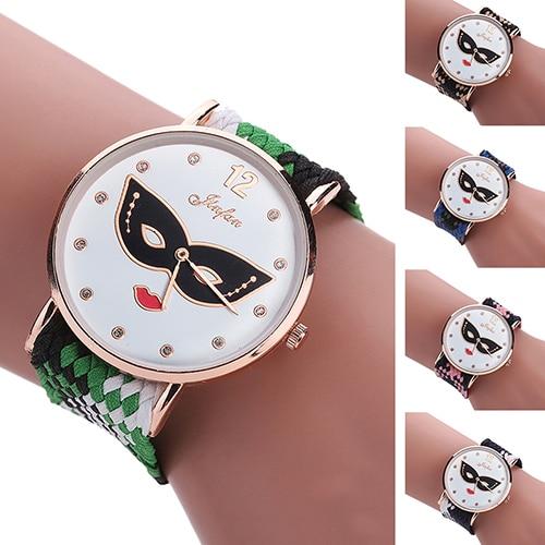 Women Ethnic Style Masque Printed Round Dial Braided Band Quartz Wrist Watch