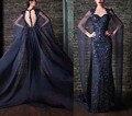 Очаровательная вечерние платья роскошные назад с длинными мыса игристое бусины кристаллы блестки кружева аппликация длиной до пола знаменитости платья