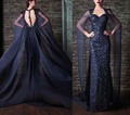Charming Evening Dresses Luxury Back with Long Cape Sparkling Beads Crystals Sequins Lace Applique Floor Length Celebrity Gowns