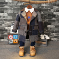 Fashion Baby boys wool coat 2016 new small children thickened woolen coat Long plaid coat in children For 2-7Years Old