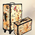 20,24,14 Inch Retro Trolley Case,Spinner wheel,PU leather,Landscape painting, waterproof, shock Travel Suitcase,Rolling Luggage