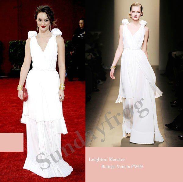 Leighton Meester Emmys Red Carpet Celebrity Dresses V-Neck White Chiffon  Gown Ruched Evening Dresses Formal Gown 61fae11f4fab