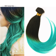 Full Shine Sew in Human Hair Ombre 1B#Teal Straight Brazilian Human Hair Weaving Weft Extensions 100g Hair Bundles