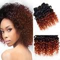 7a Brazilian Virgin Hair Ombre Kinky Curly Hair Weave 1b 350 Short Bob Hair Weave Full Head 6 Pcs Lot Orange Ombre Human Hair