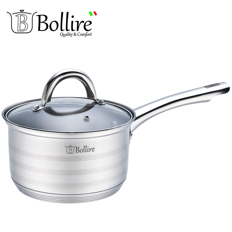 BR-2001 Ladle Bollire 1.6L 16cm Casserole stainless steel Cover of heat-resistant glass with a hole for the release of steam
