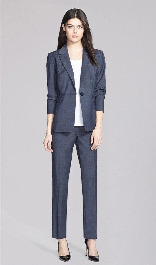 2015 Neue 2 Stück Set Weibliche Mode Outwear Jacke + Hosen Nach Maß Grau Komfortable Frauen Anzüge Formale Büro Anzüge