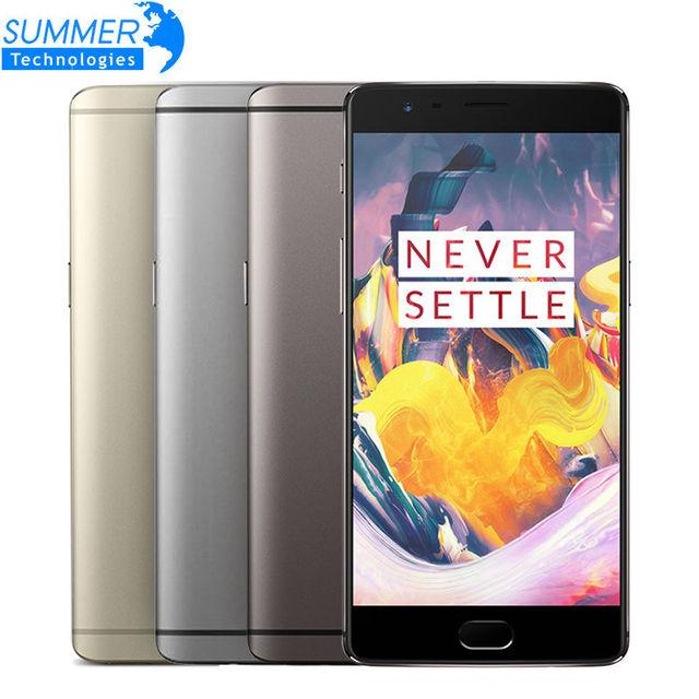 "Original oneplus 3 t lte fdd teléfono móvil 6 gb ram 64 gb rom 5.5 ""16MP 3400 mAh Android 6.0 Quad Core Snapdragon 821 NFC Huella Digital"