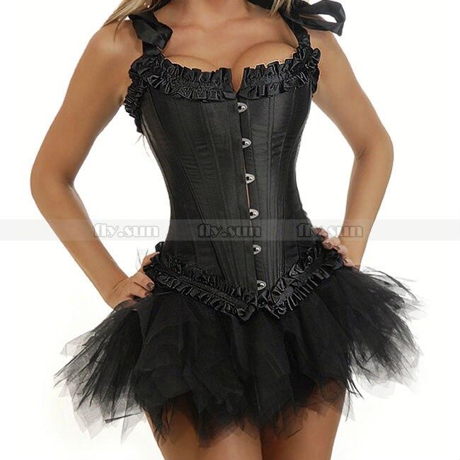 d231b2263 Negro de calidad para mujer Goth Burlesque Lace up Corset vasco Bustier  Overbust de Halloween + negro del tutú de la falda sml XL 2XL en Bustiers y  ...