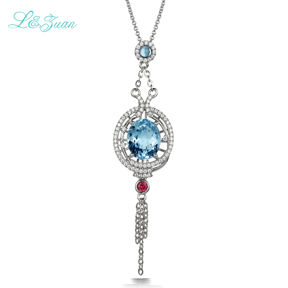 l&zuan 925 sterling silver 4.06ct Sky Blue Topaz Fashion Pendants Necklaces Jewelry gift Send a S925 Silver Necklace For Women blue mind act upon mind s925 silver lovers necklace silver pendants page 5 page 8 page 6