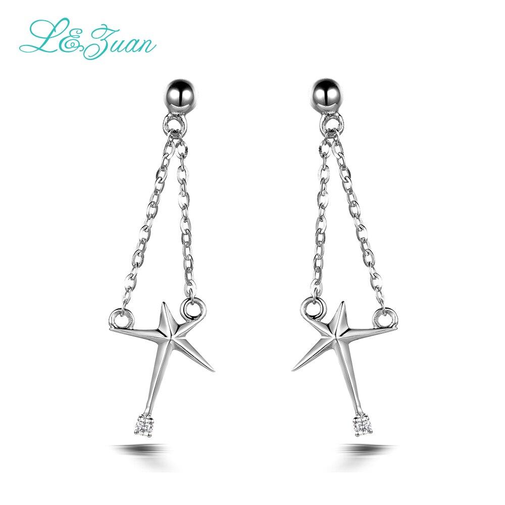 I&zuan 14k White Gold Elegant Earrings 0015ct Natural Diamond Setting Drop  Earrings Fine Jewelry For