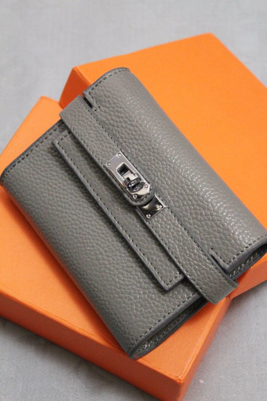Кожаный кошелек в стиле Hermes Kelly с Алиэскпресс