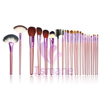 22pcs Set Purple Color Professional Makeup Brush Made Of Goat Hair Nylon Horse Hair Packed In