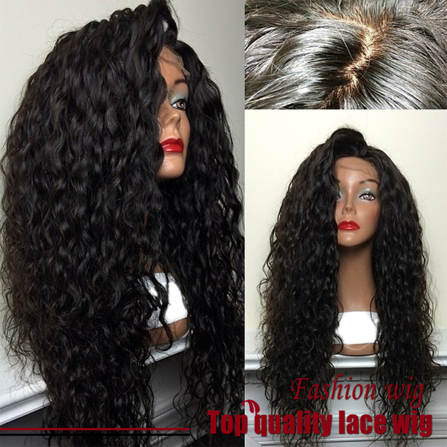 Hot! Fibra de Qualidade superior Solto Curly Perucas Synthetic Lace Front Wigs 180% Densidade de Cor Preta Resistente Ao Calor Perucas de Cabelo Sintético