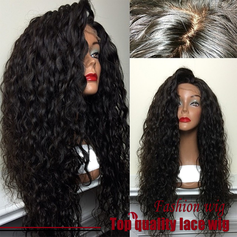 Hot top quality fiber loose curly wigs synthetic lace front wigs 180 density black color heat