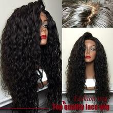 Hot! Fibra de Qualidade superior Solto Curly Perucas Synthetic Lace Front Wigs 180% Densidade de Cor Preta Resistente Ao Calor Perucas de Cabelo Sintético(China (Mainland))