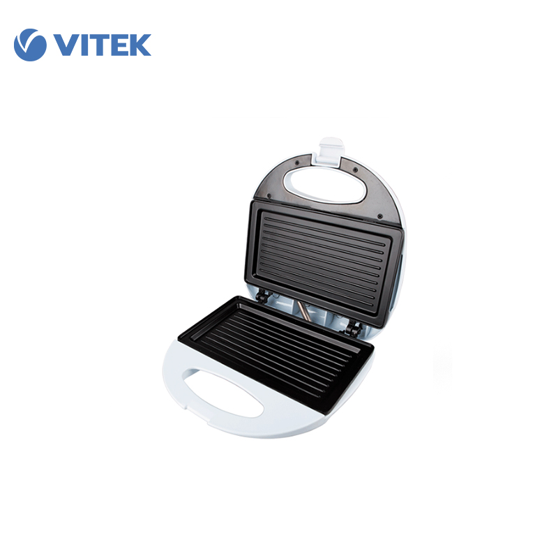 Sandwich maker Vitek VT-1598 bread Household Baking 2 Slices Slots for Breakfast toast machine automatic zipper cutting sliced toast mold white coffee