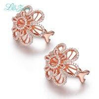 L & Цзуань erendy стерлингового серебра с покрытием розового золота серьги 2.26ct каменный цветок клип на серьги для женщин