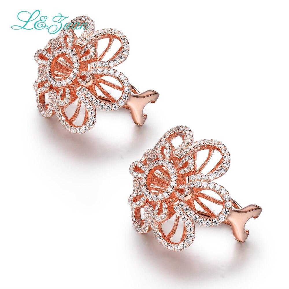 L&zuan Erendy Sterling Silver Jewelry Plated Rose Gold Earrings 2.26ct Flower Stone Clip On Earrings For Women gold plated stone asymmetry dangle earrings