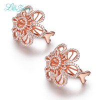 L&zuan Erendy Sterling Silver Jewelry Plated Rose Gold Earrings 2.26ct Flower Stone Clip On Earrings For Women