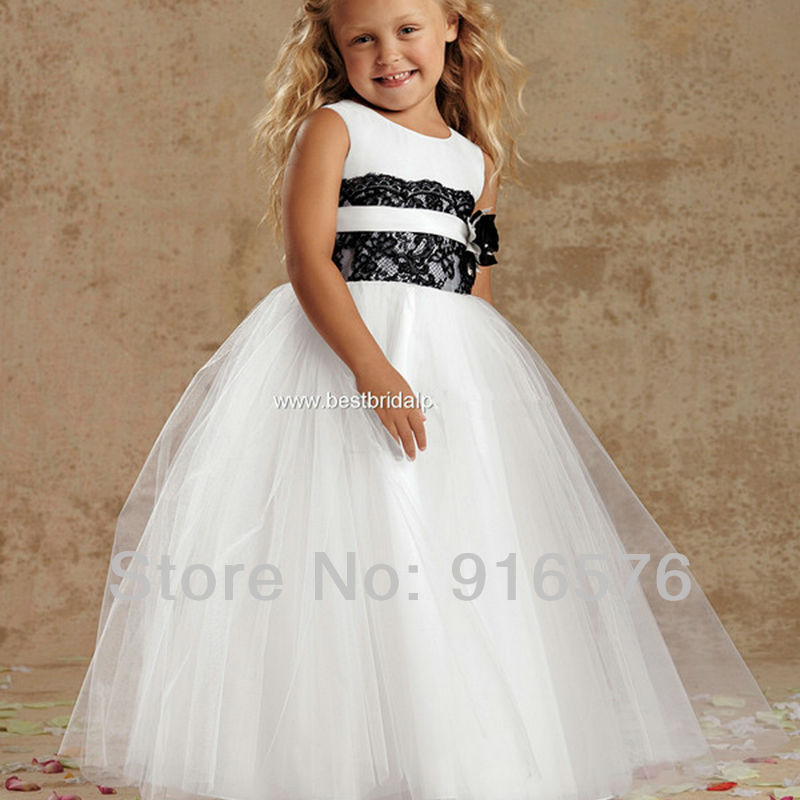 ba1286895 Flower Girl Ball Gown Cute Dresses To Wear To Weddings Gowns For Little  Girls Ankle Length White Organza And Black Lace