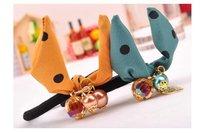 бесплатная доставка ~ хрустальный шар шифон бабочка с бантом волосы кольцо ювелирных изделий 6 смешанные цвета на выбор