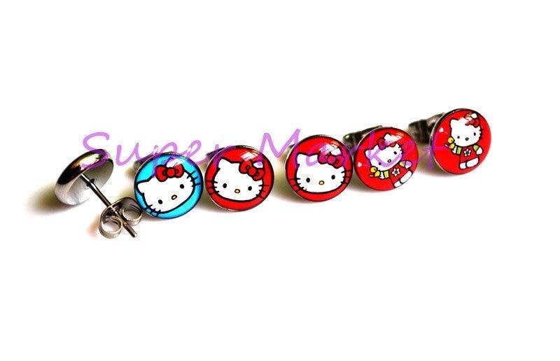 Новые hello kitty милый кот 3 стильные серьги из нержавеющей стали 316L ушное кольцо гвоздики Красный Синий 8 мм шар Горячая Распродажа продвижение ювелирных изделий