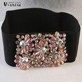 Super flash кристалл декоративный пояс черного пояса леди сладкий и элегантный юбка талии эластичный пояс Y087