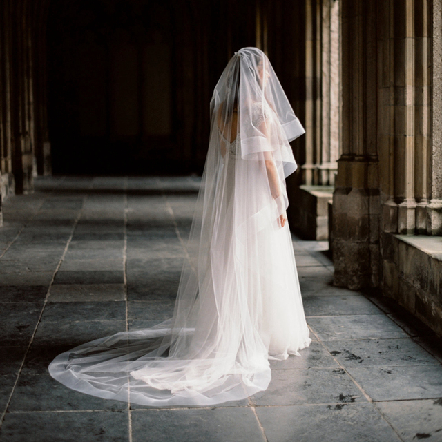 Thick Horsehair Ribbon Veil With Blusher 29''/74 cm Circle Drop Bridal Veils Cathedral Length 108''/274 cm