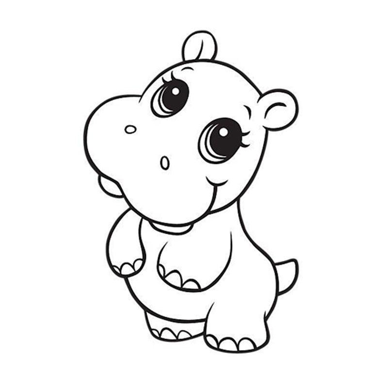 15*10CM Cartoon Cute Hippo Graphic Decal Sticker Car Cover