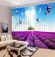 European Style Top Quality custom curtain Hot 2016 Customized 3D curtains purple scenery modern living room curtains