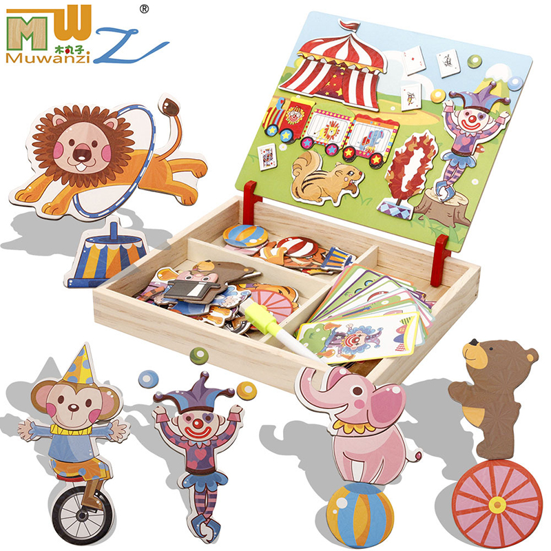 MWZ magnetic fun jigsaw children wooden puzzle board box pieces games cartoon educational drawing baby toys for girls boys girl children s early childhood educational toys the bear change clothes play toys creative wooden jigsaw puzzle girls toys