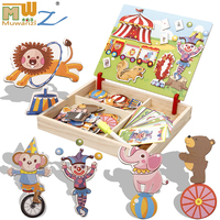 MWZ Magnetic Fun Jigsaw Children Wooden Puzzle Board Box Pieces Games Cartoon Educational Drawing Baby Toys