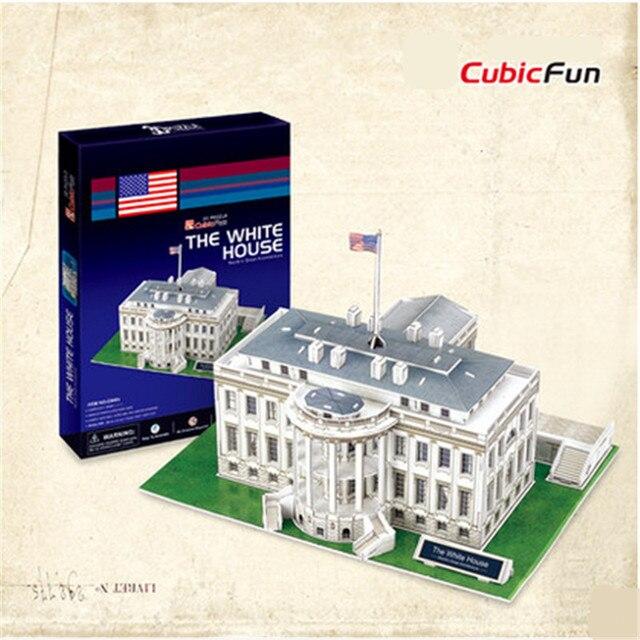 Cubicfun 3D Головоломки DIY Картона Модель, белый Дом Архитектурные Особенности Америке Puzzle 3D Модели, игрушки Для Детей