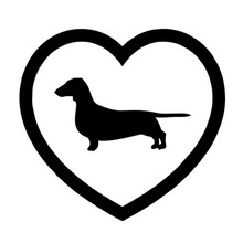 15*14.1CM New Love Border Dachshund Car Sticker Motorcycle Car Window Fashion Decorative Stickers Decals C4-0146