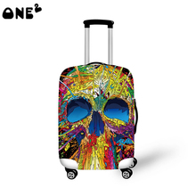 2016 ONE2 Design color the skull monster pattern printing  cover apply to 22,24,26 inch suitcase elastic women travel luggage