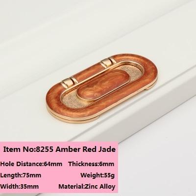 Buraco CC 64mm superfície montado alça Continental pitada invisível Âmbar Vermelho/Branco Jade Livre fenda escuro lidar com 8255