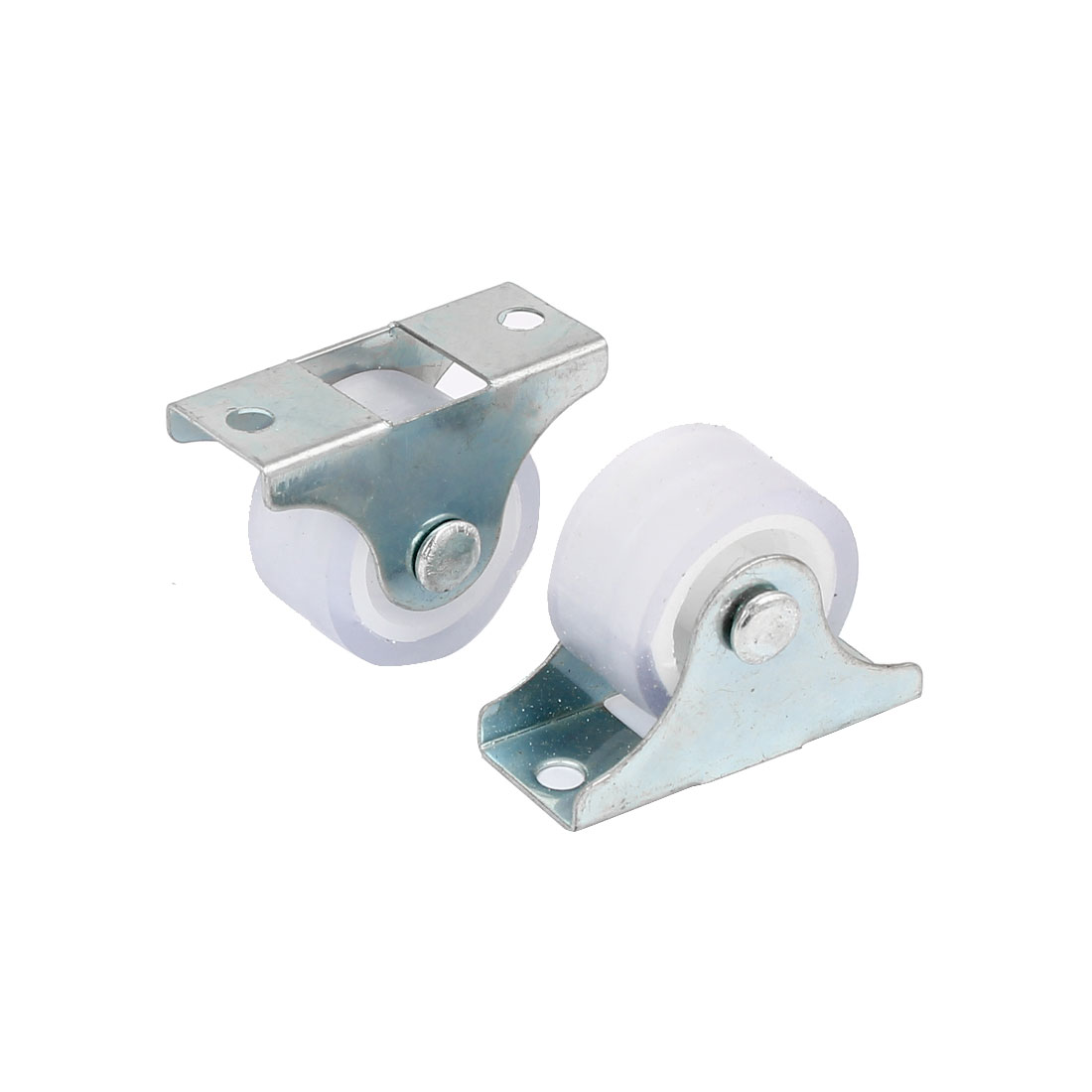 UXCELL Furniture Chair Metal Top Plate Fixed Caster Wheels Silver Tone 1 Dia 2 Pcs 1 silent plastic fixed castor wheels diy silicone caster 10pcs