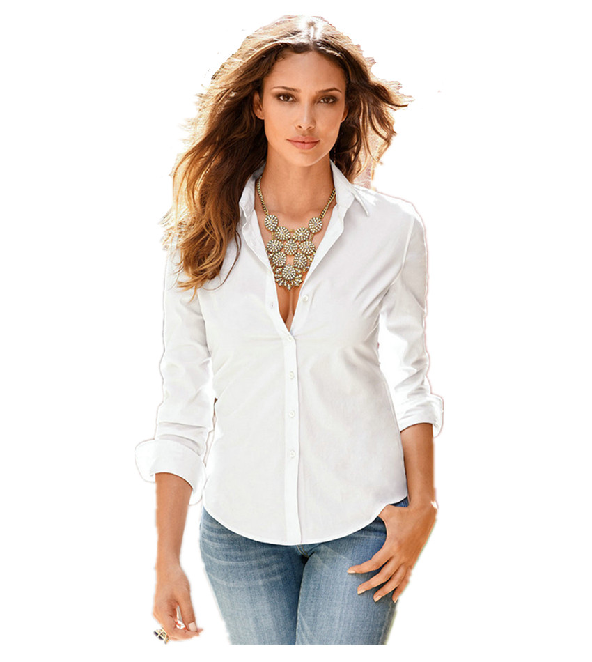 Drop  Shipping 2017 Women's Autumn White Blouse Ol Office Shirts Female Slim Tops Blouses Slim High Quality Casual