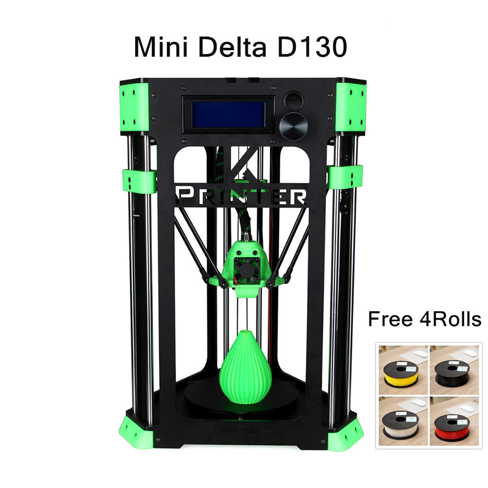 Upgraded quality Auto leveling 3D Printer Mini Delta Printer D130 4KG filament+TF card +USB +filament Stand free core xy structure creality 3d ender 4 auto leveling 3d printer laser head 3d printer kit filament monitoring alarm potection