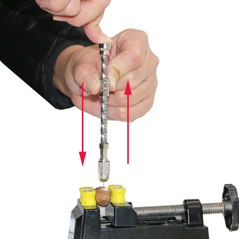 Perceuse à main en spirale pour le bois, ressort manuel de perçage de fil en spirale pour bijoux réparation de montres outils de bijouterie