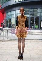 платье воротник со углами спрямлёнными винтажный длинный рукав, женское приталенный элегантный хлопок полушерстянная контрастность цвет